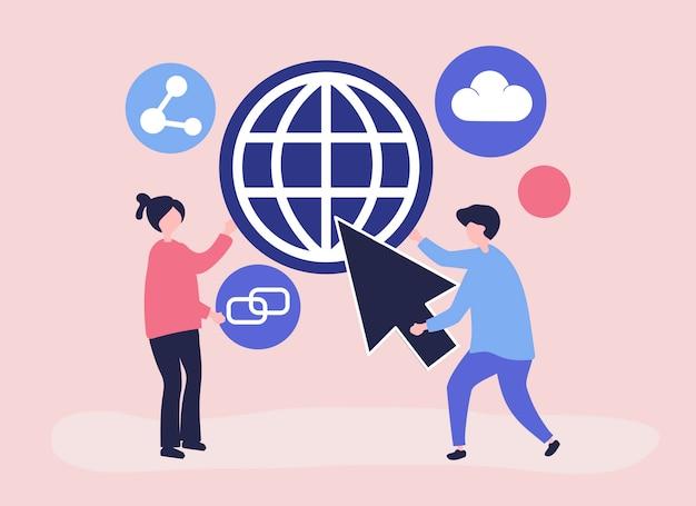 Karakters en globale communicatie conceptenillustratie Gratis Vector