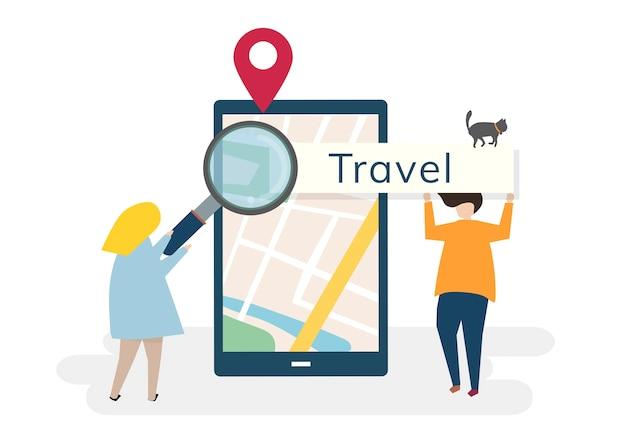 Karakters met reizen en technologie concept Gratis Vector