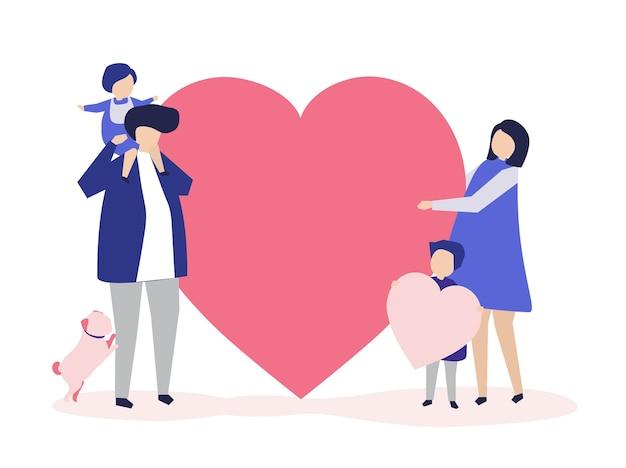 Karakters van een familie die een illustratie van de hartvorm houden Gratis Vector