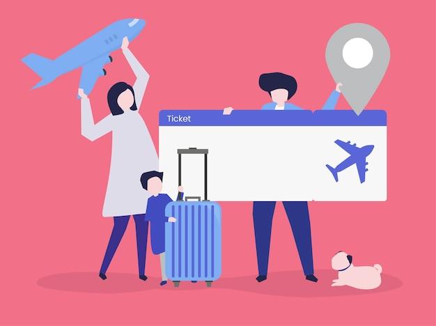Karakters van mensen die de illustratie van reispictogrammen houden Gratis Vector