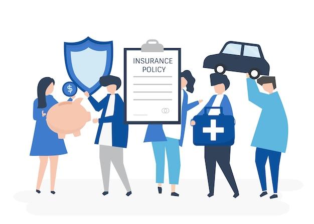 Karakters van mensen die de illustratie van verzekeringspictogrammen houden Gratis Vector