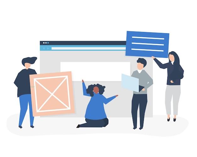 Karakters van mensen die de illustratie van websitepictogrammen houden Gratis Vector