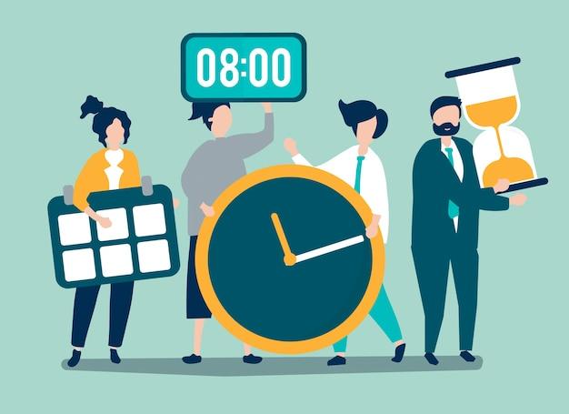 Karakters van mensen die het concept van het tijdbeheer houden Gratis Vector