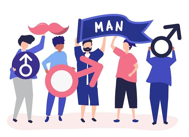 Karakters van mensen die mannelijke pictogrammen houden Gratis Vector