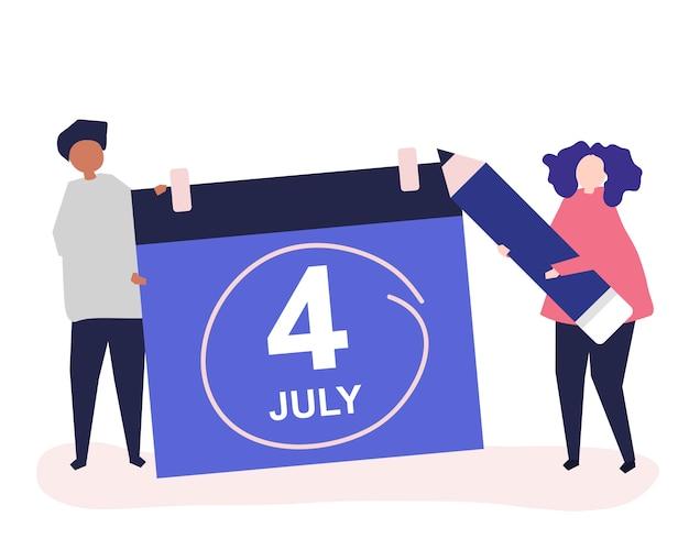 Karakters van mensen en vierde van het conceptenillustratie van juli Premium Vector