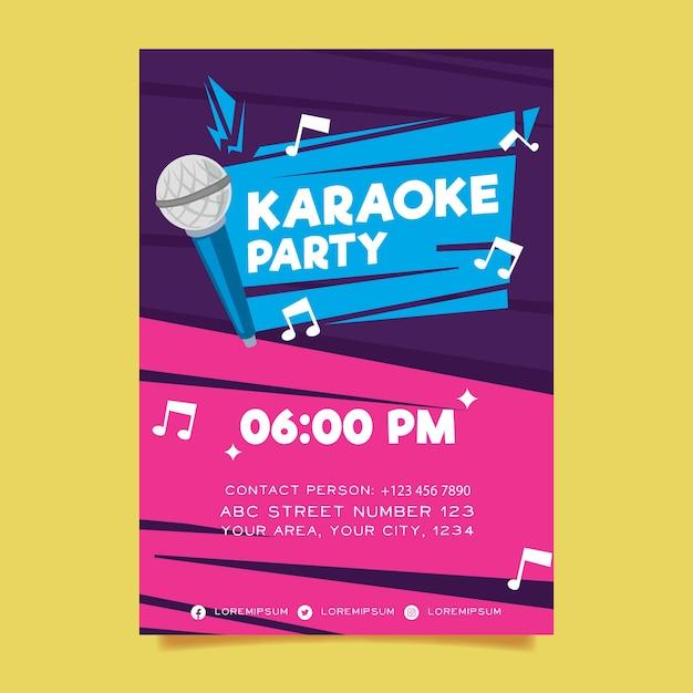 Karaoke abstracte poster sjabloon Gratis Vector