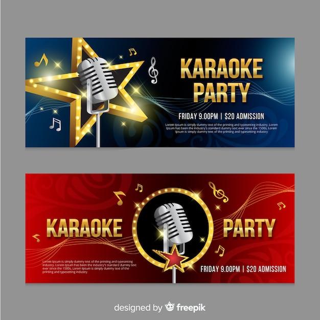 Karaoke banner sjabloon realistische stijl Gratis Vector