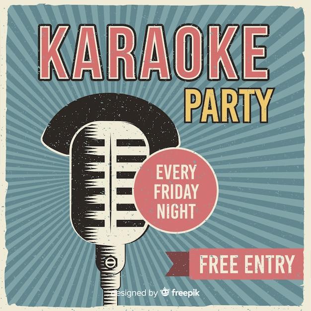 Karaoke banner sjabloon retro stijl Gratis Vector