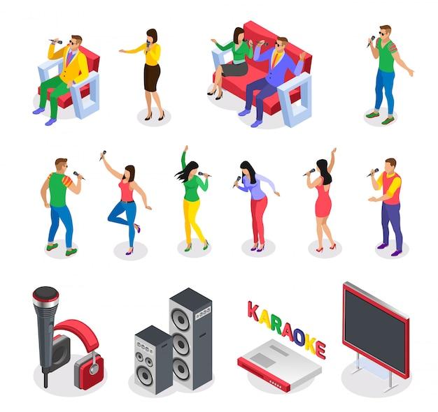 Karaoke isometrische pictogrammen verzameling van geïsoleerde afbeeldingen met partij mensen personages meubels luidsprekers en tekst Gratis Vector