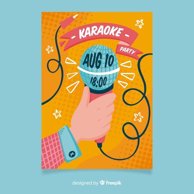 Karaoke nacht feest poster of folder sjabloon Gratis Vector