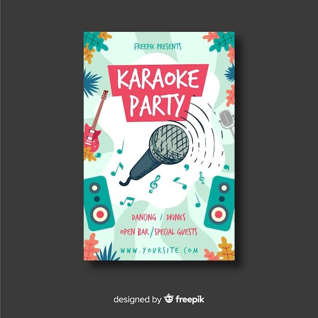 Karaoke nacht feest poster of folder sjabloon Gratis Vector
