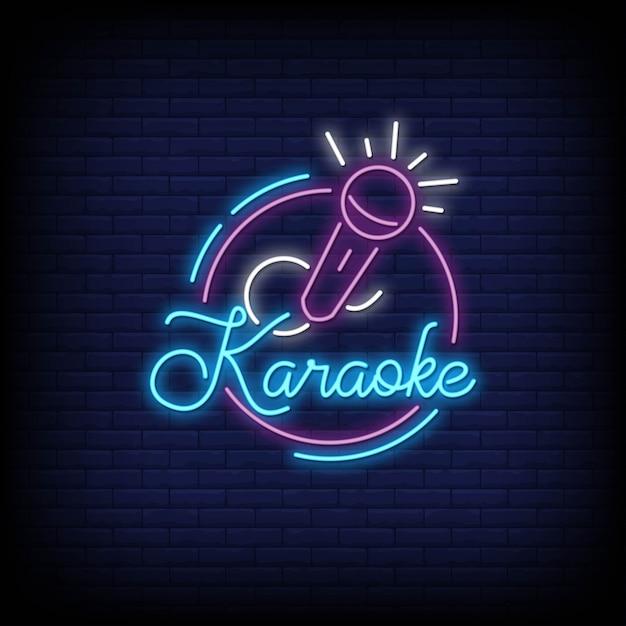 Karaoke neonreclame stijl Premium Vector
