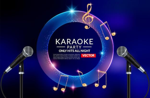 Karaoke partij uitnodiging folder sjabloon Premium Vector