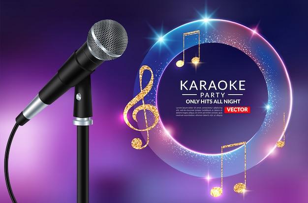 Karaoke partij uitnodiging poster sjabloon, karaoke nacht flyer Premium Vector