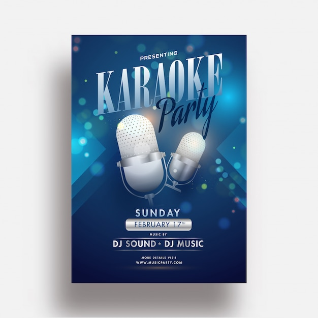 Karaoke party flyer of sjabloonontwerp met realistische microfoon Premium Vector