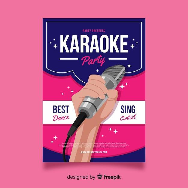 Karaoke poster sjabloon platte ontwerp Gratis Vector