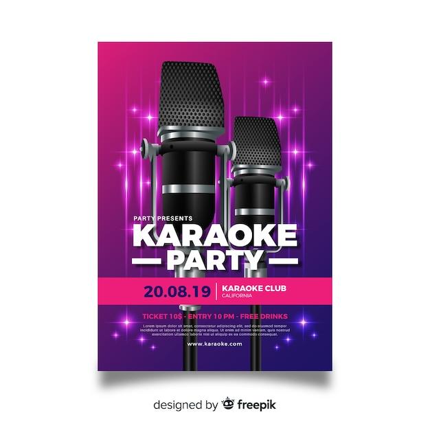 Karaoke poster sjabloon realistische ontwerp Gratis Vector
