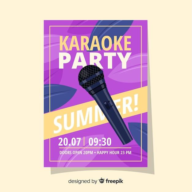 Karaoke poster sjabloon vlakke stijl Gratis Vector