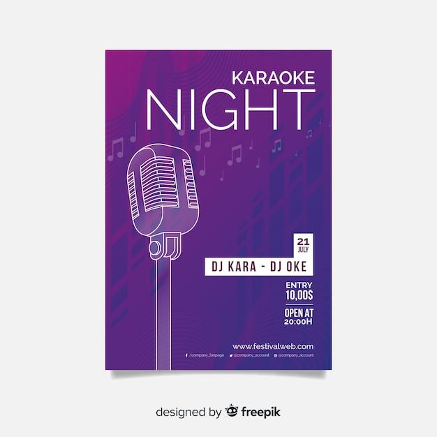 Karaoke poster sjabloonontwerp voor een verloop Gratis Vector