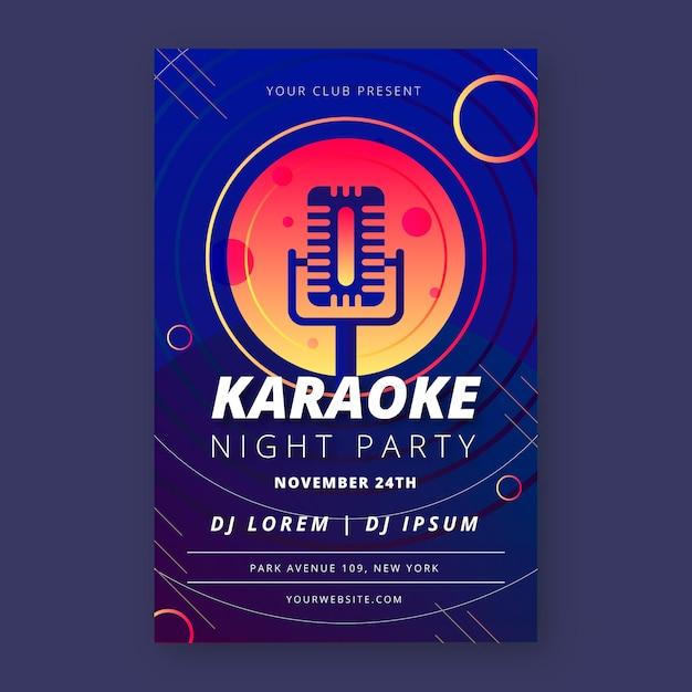 Karaoke poster voor abstracte muziekstijl Gratis Vector