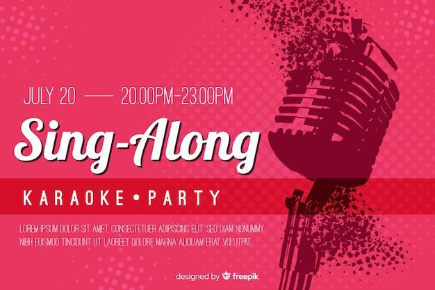Karaoke-sjabloon vlakke stijl van de banner Gratis Vector