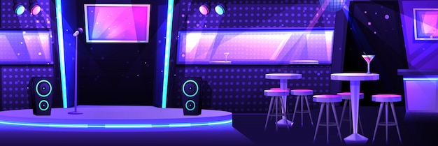 Karaokeclub met een podium en een microfoon Premium Vector