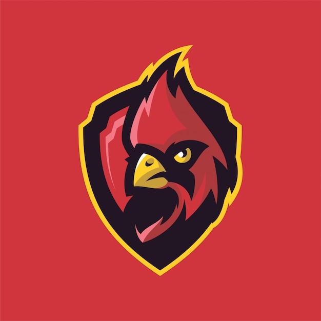 Kardinaal vogel mascot hoofd logo Premium Vector
