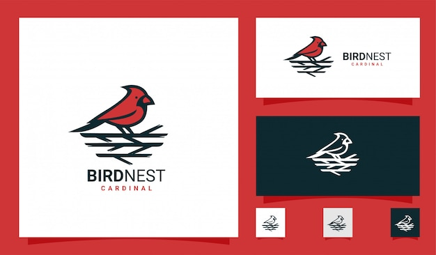 Kardinaal vogelnest premium logo Premium Vector