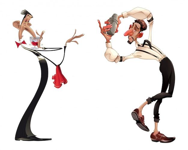 Karikaturen van barman en ober met rode wijn Premium Vector