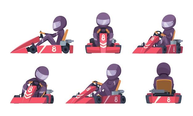 Karting auto. straat snelheid racers concurrentie sport auto go kart cartoon Premium Vector