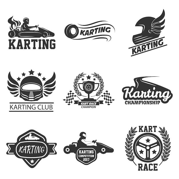 Karting club of kart races sport vector sjabloon pictogrammen instellen Premium Vector