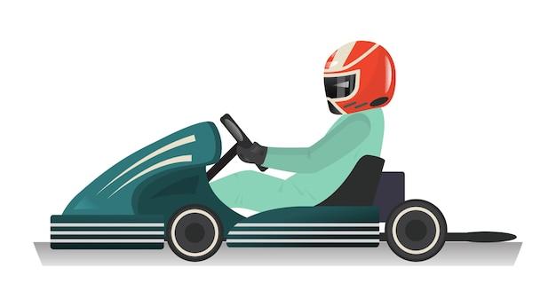 Karting sportman geïsoleerde pictogram Premium Vector