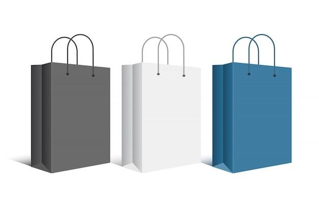 Kartonnen blanco boodschappentassen. Premium Vector