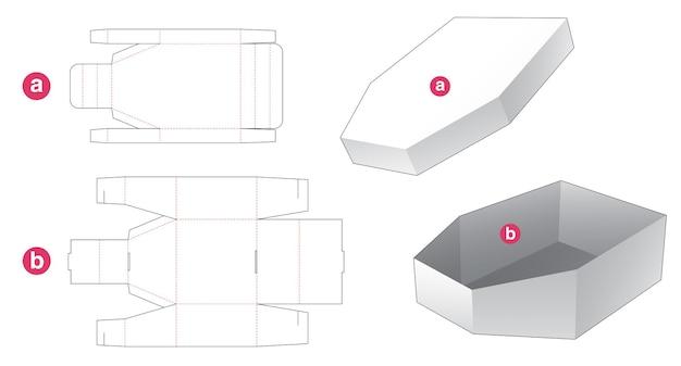 Kartonnen bootvormige verpakking en gestanst sjabloon met deksel Premium Vector