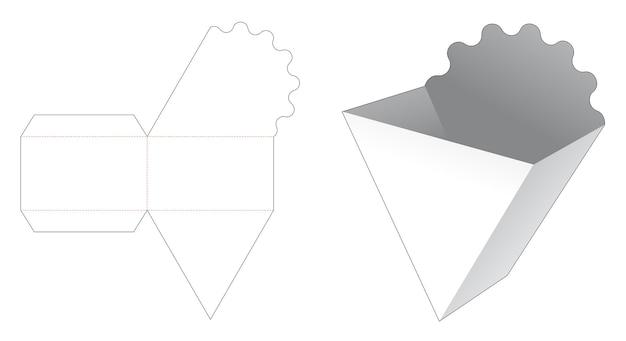 Kartonnen driehoekige franse gefrituurde container gestanst sjabloon Premium Vector