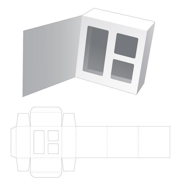 Kartonnen flip-box met verborgen, inaert ondersteunend gestanst sjabloon Premium Vector