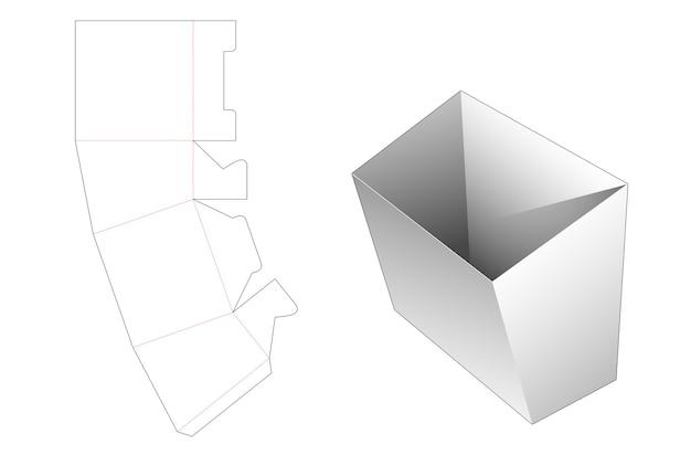 Kartonnen frietjes container gestanst sjabloon Premium Vector