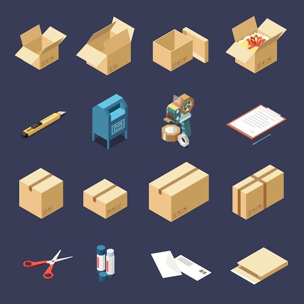 Kartonnen leveringsdozen en hulpmiddelen om isometrische pictogrammen te verpakken geplaatst geïsoleerd Gratis Vector