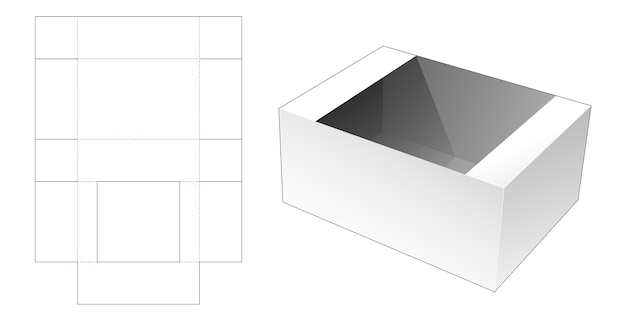 Kartonnen maaltijdbakje gestanst sjabloon Premium Vector