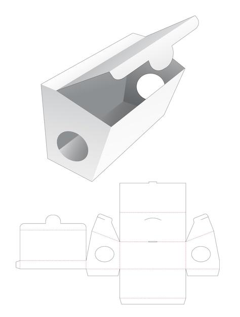 Kartonnen opening punt lange verpakking gestanst sjabloon Premium Vector