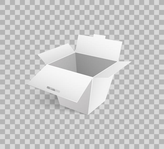 Kartonnen pictogram mockup van kartonnen doos 3d isometrisch Premium Vector