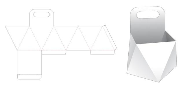 Kartonnen prisma met handvat gestanst sjabloon Premium Vector