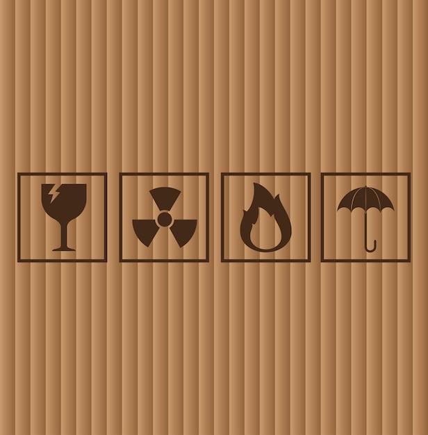 Kartonnen symbolen, vectorillustratie Gratis Vector