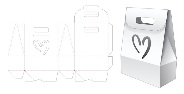 Kartonnen tas met handvat en hartvormig venster gestanst sjabloon Premium Vector
