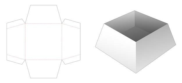 Kartonnen trapeziumvormige dienblad gestanst sjabloon Premium Vector