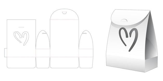 Kartonnen verpakkingstas met hartvormig venster gestanst sjabloon Premium Vector