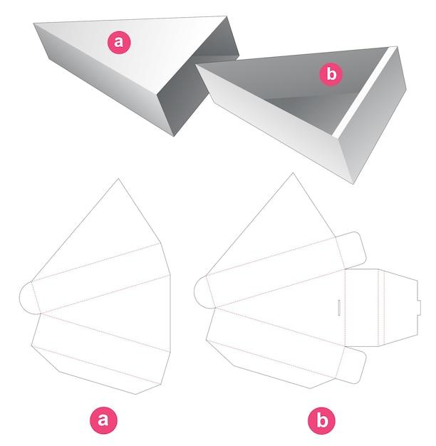 Kartonnen verschuifbare driehoekige doos met gestanste omslagmal Premium Vector