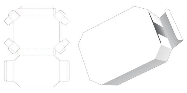 Kartonnen zeshoekige blikken doos gestanst sjabloon Premium Vector