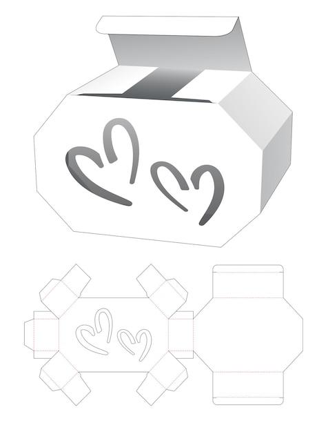 Kartonnen zeshoekige doos en 2 hartvormige raamgestanste sjabloon Premium Vector