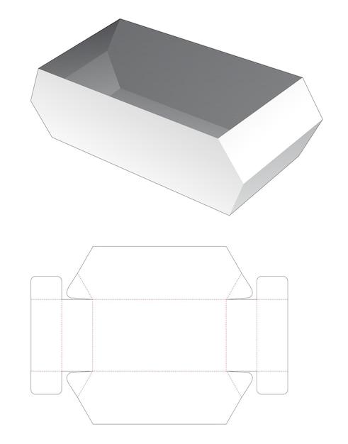 Kartonnen zeshoekige kom gestanst sjabloon Premium Vector
